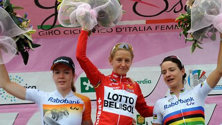 Norwich's Emma Pooley stands on top of the podium for stage six of the 2014 Giro Rosa. Photo: Nicola