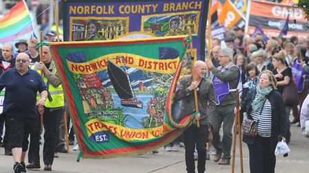 Striking government workers march through Norwich. Picture: Denise Bradley