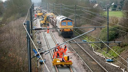 Railway engineering work replacing track on the Norwich to London line through Norfolk. Photo: Bill