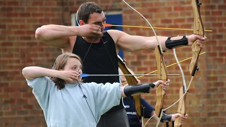 Broadland Village Games at Aylsham High School. Adam Mayo and his daughter Maggie, 10, from the Hain