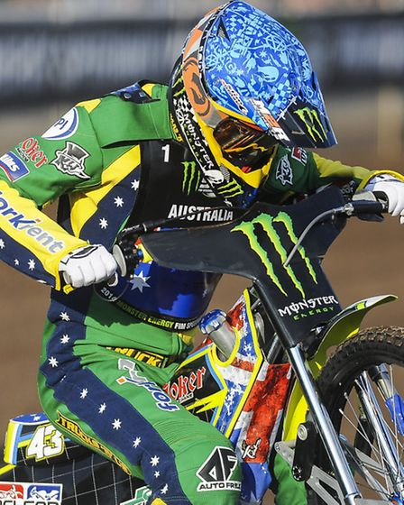 Darcy Ward in action for Australia at King's Lynn on Saturday. Picture: Matthew Usher.