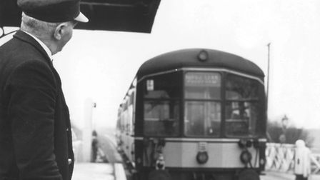 Flashback to 1966 and porter Walter Kidd watches a diesel rail car pull out of the platform at Hethe