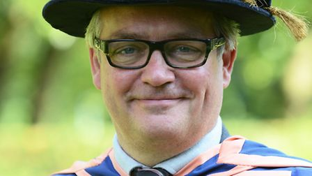Charlie Higson before receiving his hon degree at UEA. Photo: Supplied