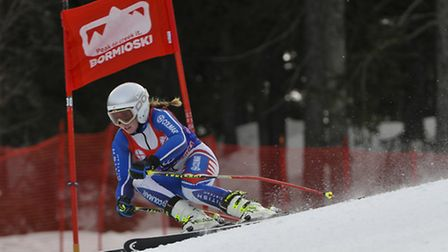 Skiier Jazmine Butcher in action in Bormio, one of the Norwich School pupils likely to apply for the
