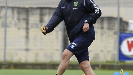 Norwich City's first team coach Mark Robson had a hands on role at the club's open training session