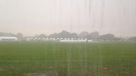 The storm which brought an early end to the first day of the Norfolk Festival of Cricket at Manor Pa