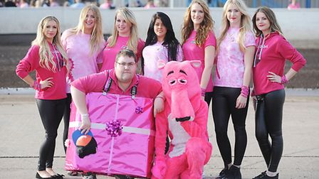 Fans were dressed in pink to support Breast Cancer Awareness. Chris Milsom and Gavin Caney, as the P