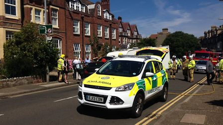 Road blocked in Cromer due to crash. Picture: Sabah Meddings
