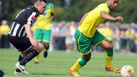 Norwich City new boy Lewis Grabban impressed during the first half of the Canaries' opening pre-seas