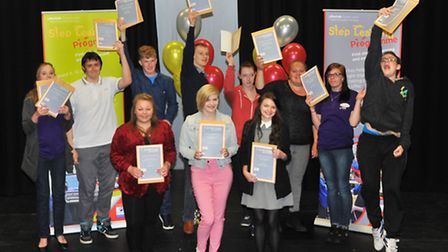 The Step Learning Programme learners celebrate completing the course.Photo by Simon Finlay.