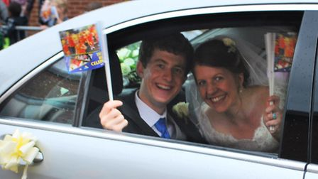 John and Sophie Ellison join in The Lord Mayor's parade after getting married at Norwich Cathedral.P