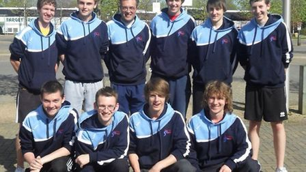 Kriss Dreimanis pictured with the East Norfolk College Volleyball team at the sixth form college cha