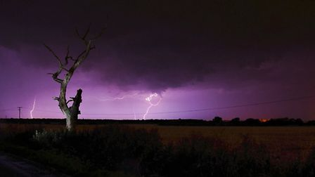 Lightning strike on Cucumber Lane, Beccles. Picture by professional photographer Thomas Oliver.