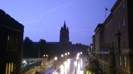 Lightning over Norwich at St Peter Mancroft. PIC: Sean Durrant.