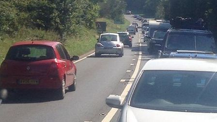 Queuing traffic on the A12.