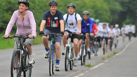 Bike Ride for Beatrice. Cyclist taking part in the 22 mile bike ride in memory daughter Beatrice. Ph