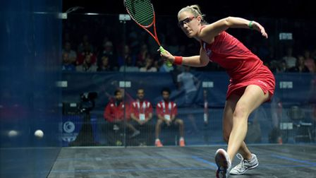 England's Laura Massaro during her women's doubles pool match at Scotstoun Sports Campus, during the