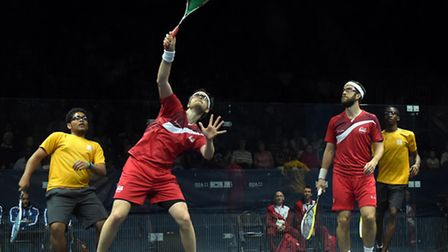 England's James Willstrop (left) and Daryl Selby against St Vincent and the Grenadines' Jason Doyle