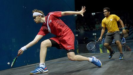 England's James Willstrop against St Vincent and the Grenadines' in his doubles pool match at Scotst