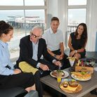 Norman Lamb MP visits No1 Chip Shop and Restaurant in Cromer. Pictured with, left, manager Frances
