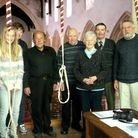 The Happisburgh bell ringers, with tower captain Gilbert Larter second from the right.