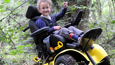 Edith Creasy, 6, in her new buggy. Picture: ANTONY KELLY