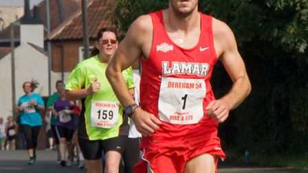 Ash Harrell on his way to victory at the Dereham 5k.