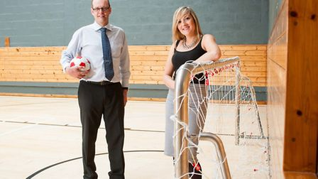 Pictured are Michael Saunders, construction manager for Lovell, and Sophie Ing, community project co