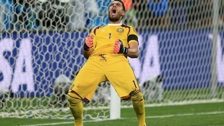 Argentina goalkeeper Sergio Romero celebrates victory in the penalty shoot-out during the FIFA World