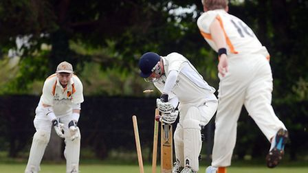 Cricket action from Dereham A v Diss A - Dereham's Nick Bliss in bat, is bowled. Picture: Matthew Us
