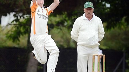 Cricket action from Dereham A v Diss A - Diss bowler Tom Davey. Picture: Matthew Usher,