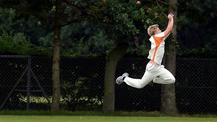 Cricket action from Dereham A v Diss A - A diving effort for a catch. Picture: Matthew Usher,