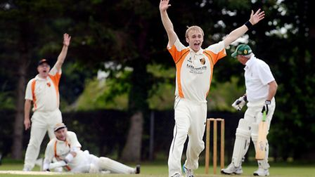 Cricket action from Dereham A v Diss A - Diss bowler Mark Brawn appeals for a LBW. Picture: Matthew