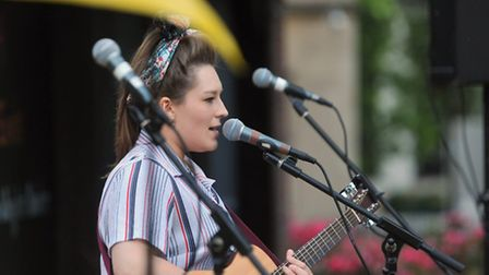 Jodie Richardson performing at the Jam Unplugged event at the Whiffler open air theatre. Photo: Bill