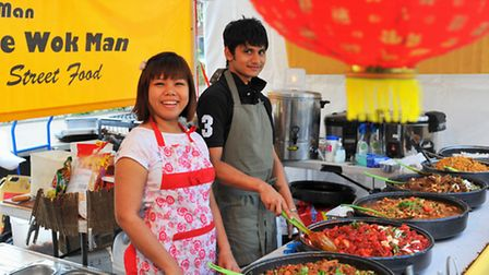 May and Riad with the Wok Man stall from London at Norwich World Bazaar at the Chantry. Photo: Bill