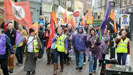 A march through King's Lynn Town centre took place by Unison and other union members on a day of str