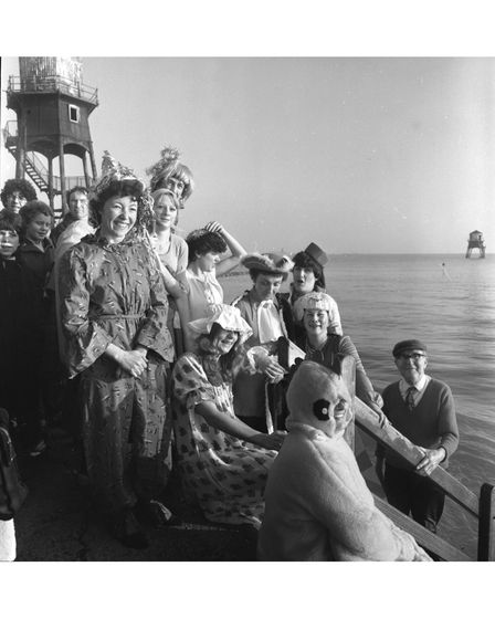 A fancy dress Christmas swim in the North Sea off Dovercourt in December 1980