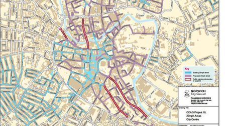 A map showing the possible 20mph limits in Norwich.