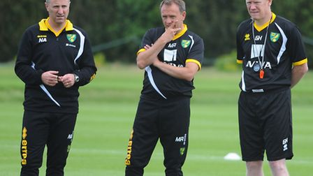 Norwich City boss Neil Adams with his key men Mark Robson and Gary Holt. Picture: Denise Bradley