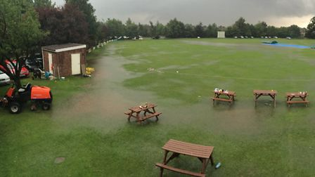 Parts of Sprowston's pitch ended up resembling a boating lake after heavy rainfall on Sunday. Pictur