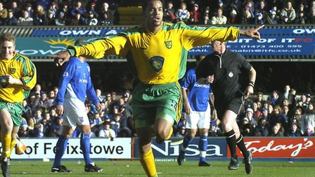 Norwich City's former striker Leon McKenzie celebrating his first goal for the club at Ipswich.