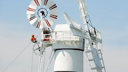 Abseiling from the top of Thurne Mill to raise vital funds for the windmill.Picture: James Bass