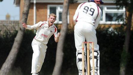 Cricket action from Fakenham v Sprowston - Sprowston bowler Andy Hanby appeals for an LBW. Picture: