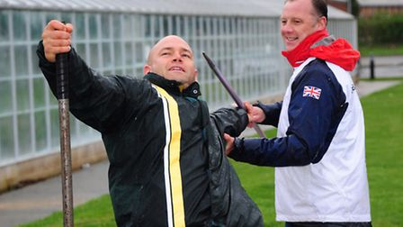 Paralympic hopeful Danny Nobbs, who has switched from shot putt to javelin with the help of his coac