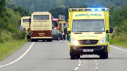 Emergency services at the scene of a coach crash on the A10 near Hilgay. Picture: Matthew Usher.