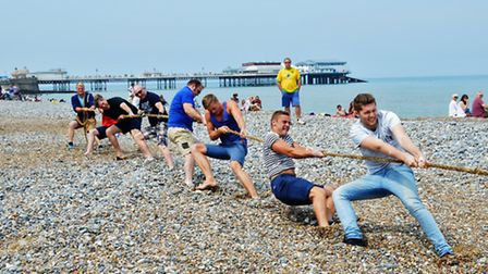 Cromer carnival tug of war action. Picture: DAVE 'HUBBA' ROBERTS