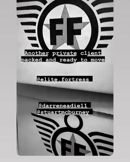 Instagram posting from footballer about new removals firm