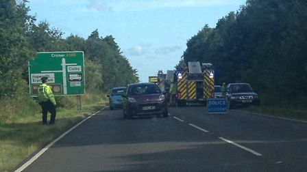 Crash on the A140. Picture: Sabah Meddings