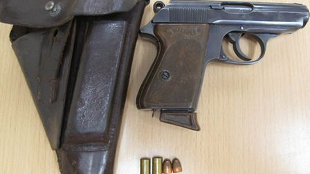 The Walther PPK hand gun dating from 1941, which was discovered during a police search of Jonathan F