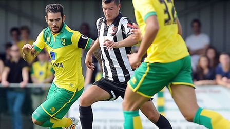 Bradley Johnson donned the Norwich City armband for the pre-season friendly win over Dereham. Pictur